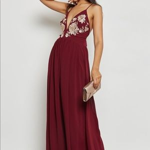 Soieblu Floral embroidered open back maxi